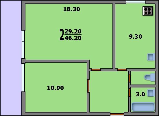 Дома серии ii-68/03 - 3d планировка 2-комнатной квартиры вар.
