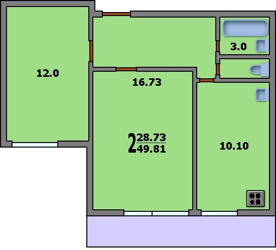 Дома серии и-522а - 3d планировка 2-комнатной квартиры вариа.