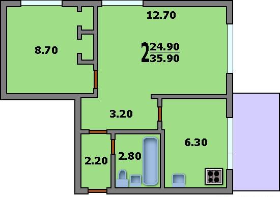 Дома серии ii-32 - 3d планировка 2-комнатной квартиры вариан.