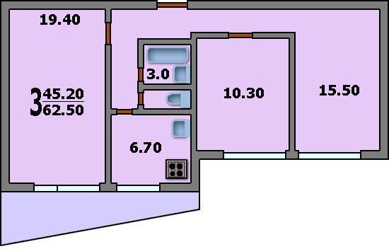 Дома серии ii-68/02 - 3d планировка 3-комнатной квартиры вар.