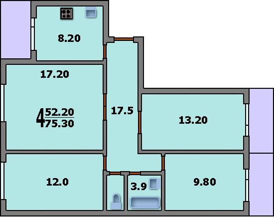 Дома серии п-30 - 3d планировка 4-комнатной квартиры вариант.