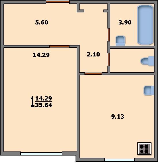 Дома серии п-3м - 3d планировка 1-комнатной квартиры вариант.