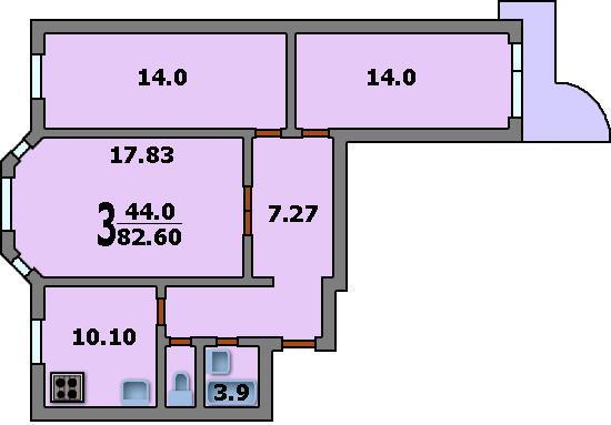 Дома серии п-3м - 3d планировка 3-комнатной квартиры вариант.