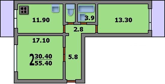 Дома серии п-46м - 3d планировка 2-комнатной квартиры вариан.