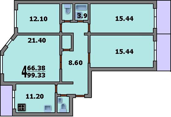 Дома серии п-55м - 3d планировка 4-комнатной квартиры вариан.
